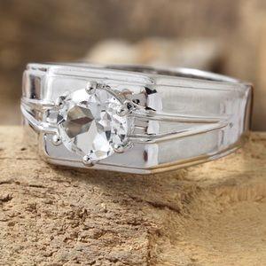 White Topaz Platinum Bond Brass Men's Ring